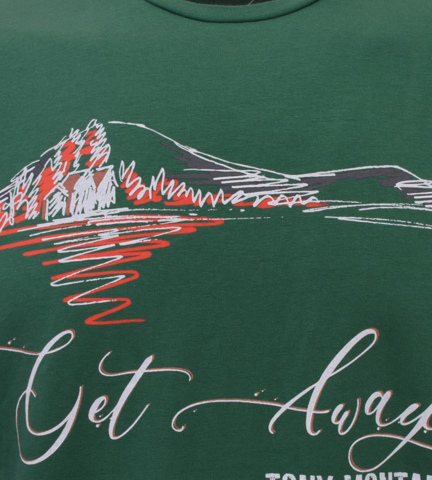 Tricou Casual Barbati Slim Fit Tony Montana- Get Away Paradise -verde