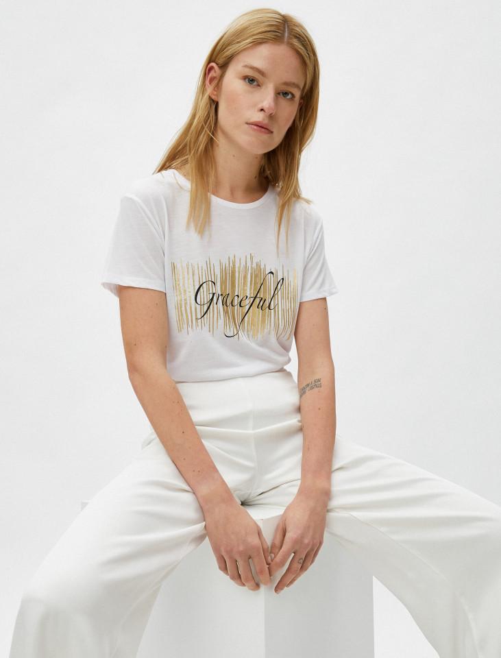 """Tricou dama casual cu imprimeu """"Graceful """" - alb"""