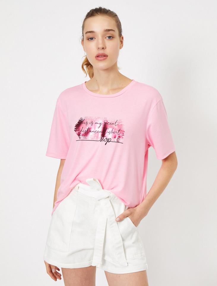 """Tricou dama casual cu imprimeu """"Social Distancing """"- roz"""
