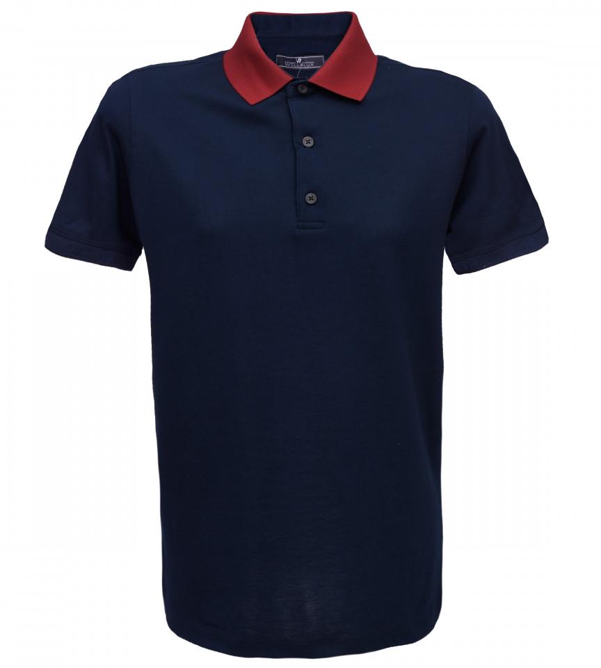 Tricou Polo Regular fit- bleumarin/grena
