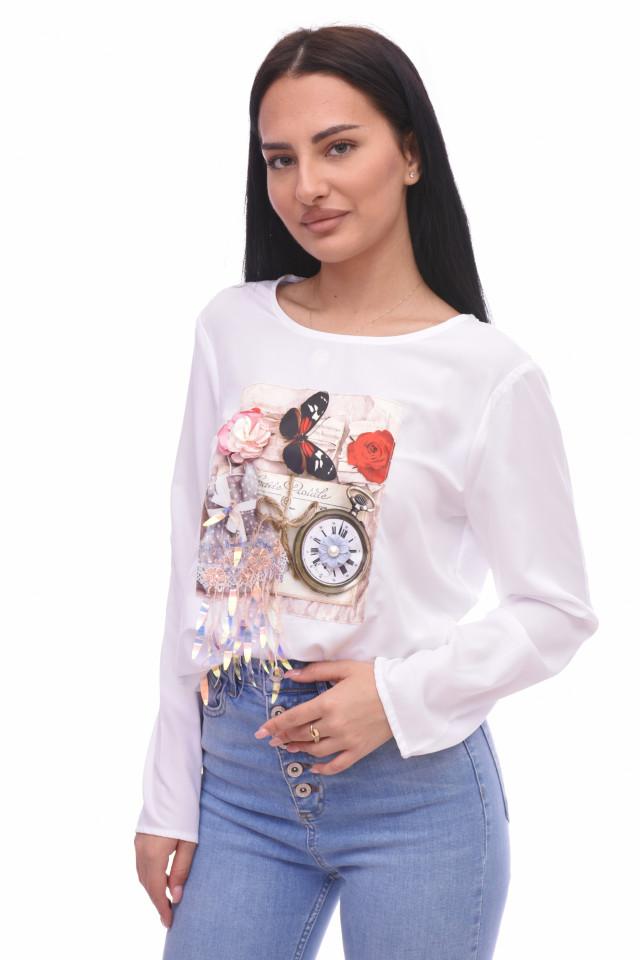 Bluza casual cu imprimeu si aplicatii-E-