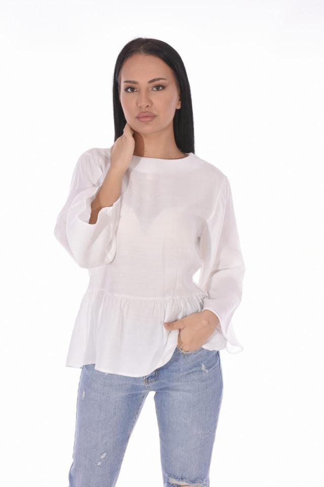 Bluza cu dantela pe spate- alb