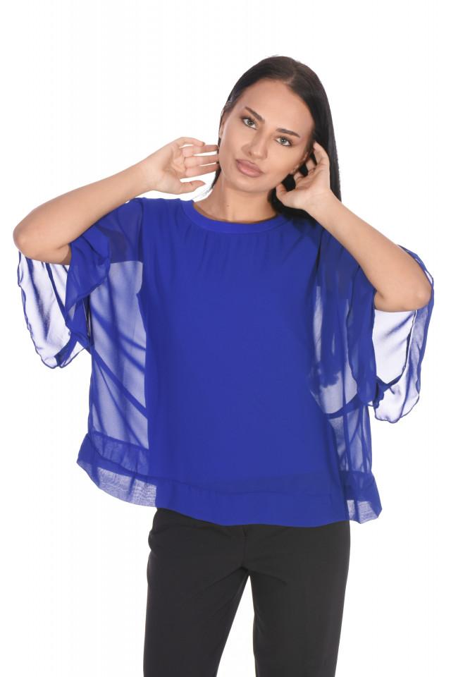 Bluza eleganta cu un croi mulat suprapunere cu voal-albastru cobalt-