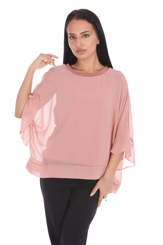 Bluza eleganta cu un croi mulat suprapunere cu voal-roz prafuit-