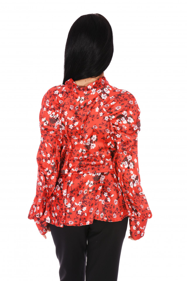 Camasa eleganta satinata cu imprimeu floral- rosu-E-