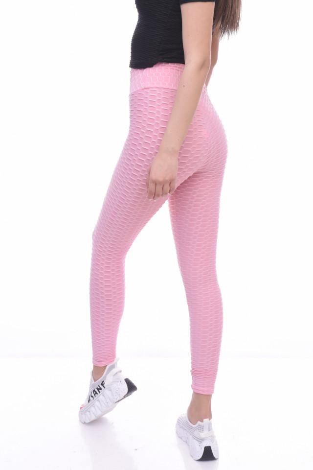 Colanti fitness cu talie inalta si efect modelator-roz-