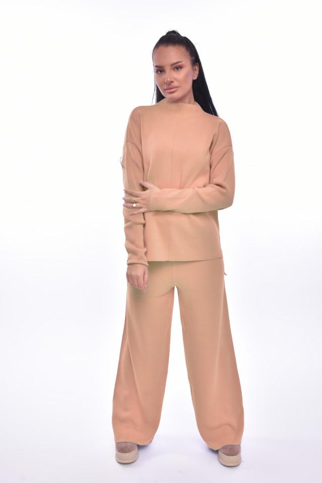 Compleu dama Alison doua piese din tricot camel