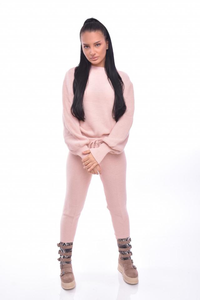 Compleu dama Annette doua piese din tricot roz prafuit