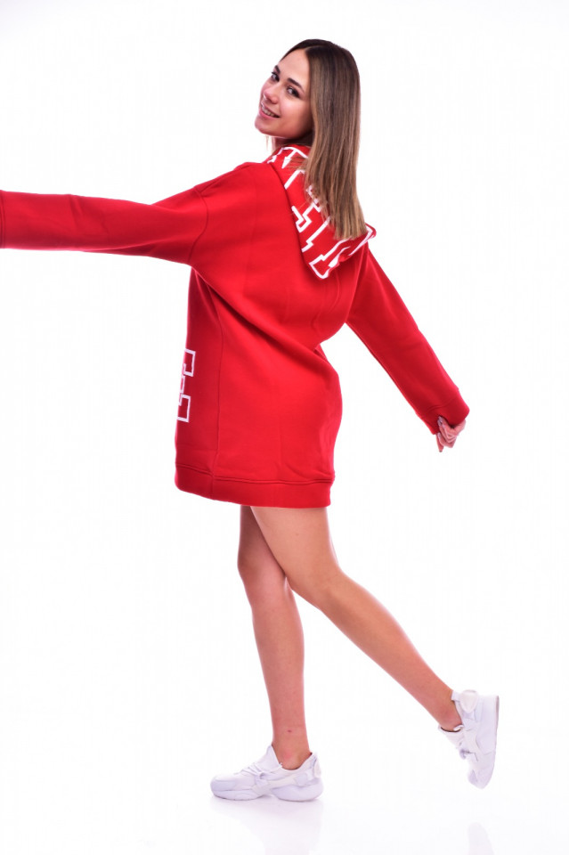 Hanorac tip rochie cu gluga