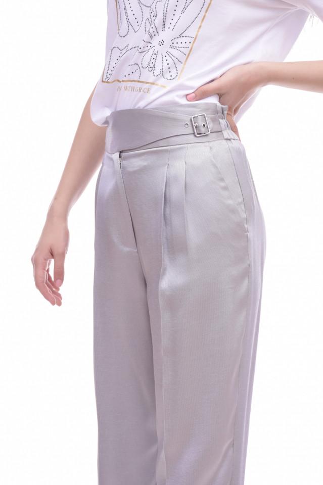 Pantaloni chino satinati