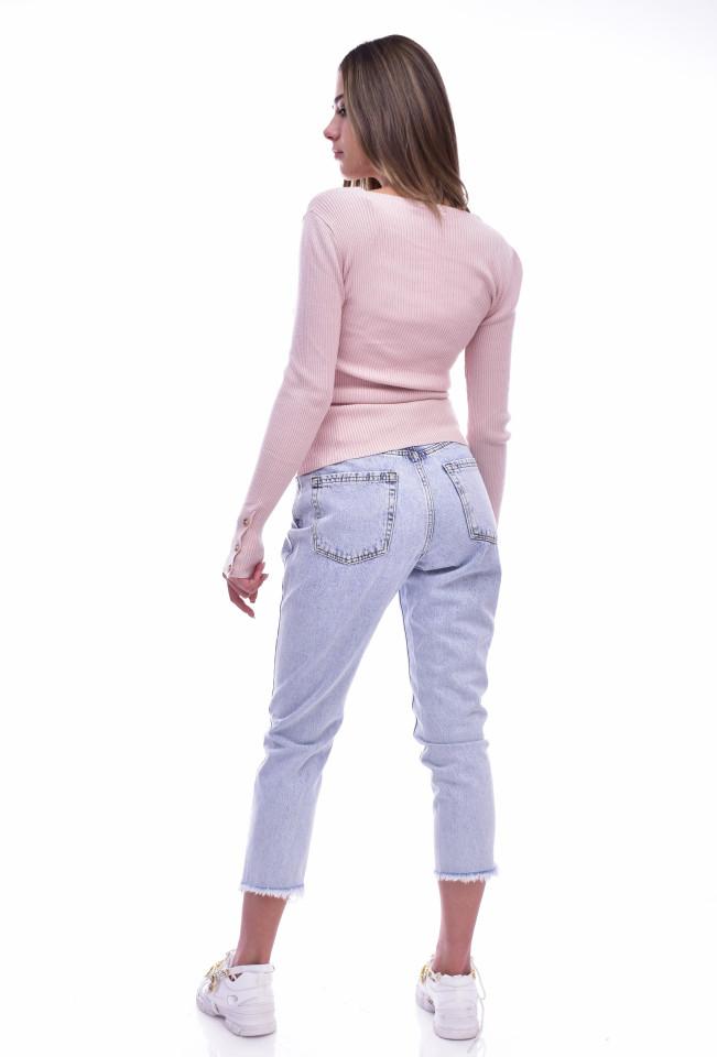 Pulover dama din tricot subtire texturat - roz