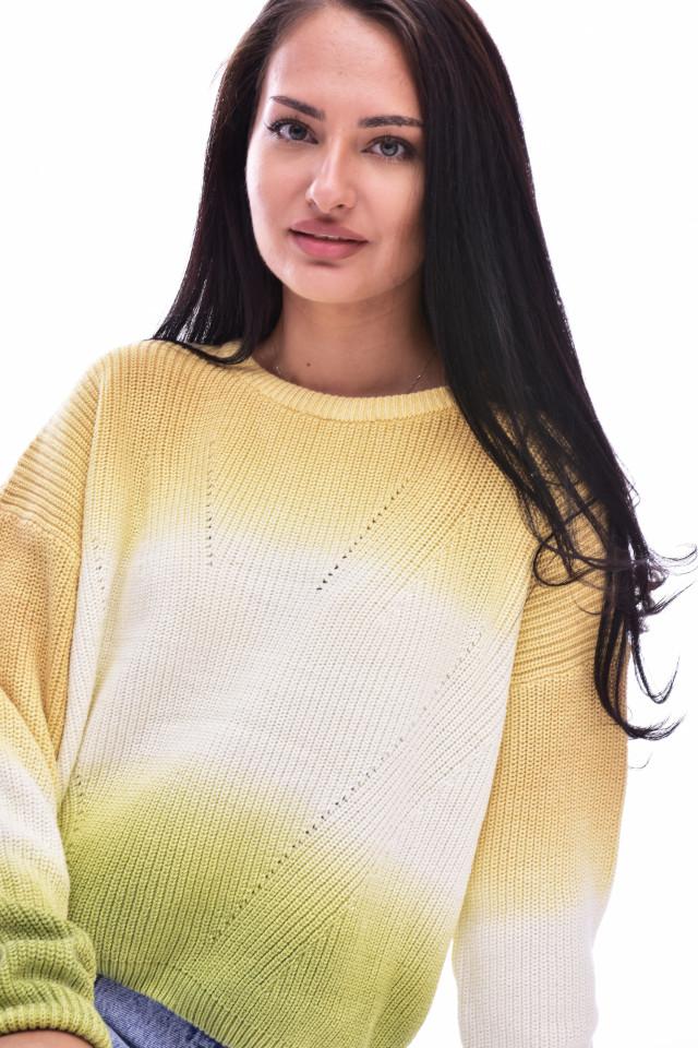 Pulover texturat din tricot gros - multicolor-E-