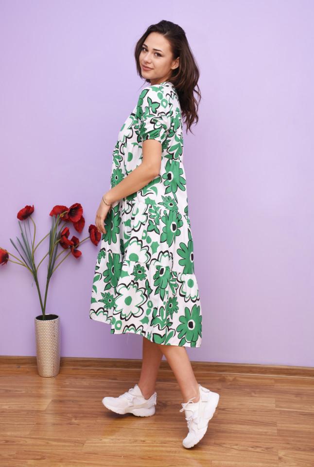 Rochie dama midi alba cu imprimeu floral verde - Alice