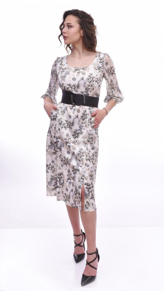 Rochie midi eleganta cu imprimeu si curea