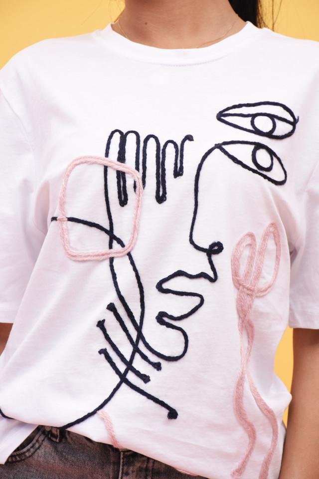 Tricou dama cu imprimeu geometric Karol