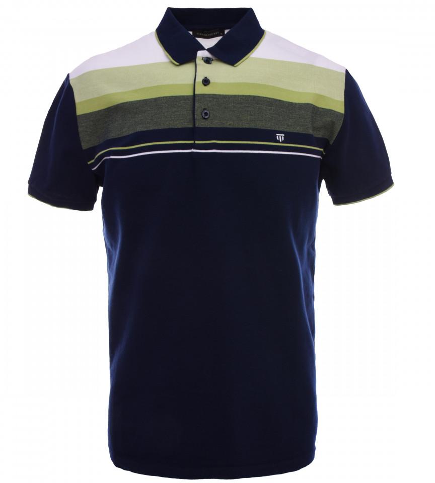 Tricou Polo Barbati Regular fit Tony Montana cu dungi - bleumarin/verde