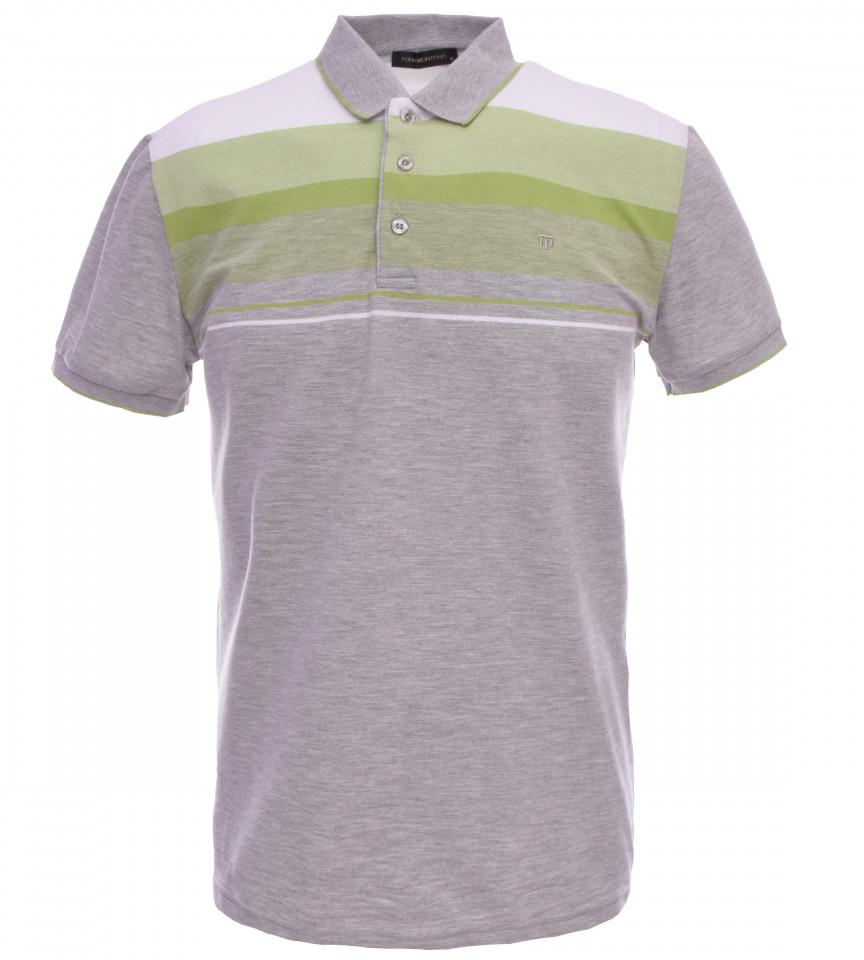 Tricou Polo Barbati Regular fit Tony Montana cu dungi - gri/verde