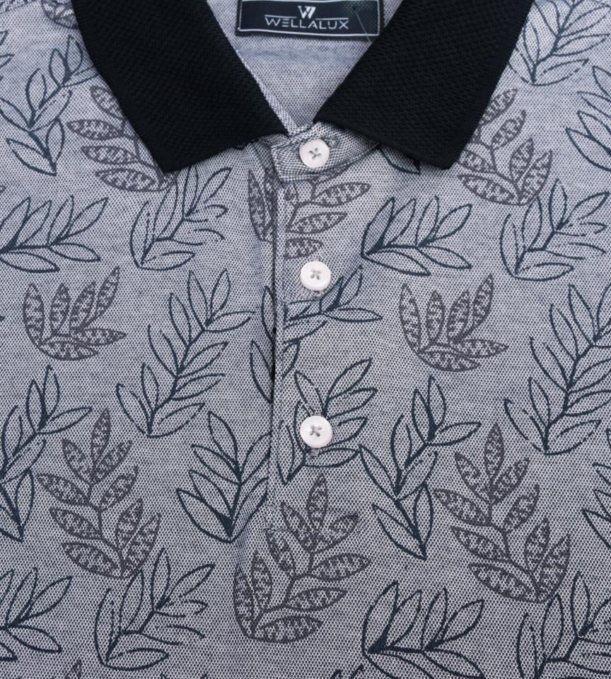 Tricou Polo Regular fit- gri cu imprimeu