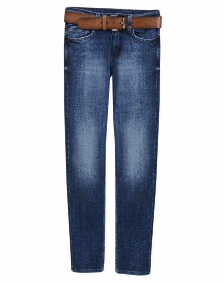 Navy Jeans With Belt