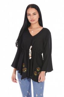 Bluza eleganta cu maneci evazate si cordon -negru-
