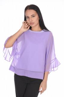 Bluza eleganta cu un croi mulat suprapunere cu voal