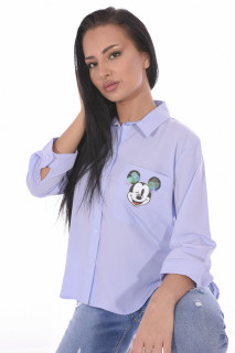 "Camasa casual "" Cartoons ""-BLEU-"