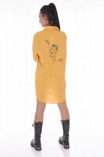 Camasa croi lejer cu broderie pe spate - galben-