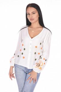 Camasa dama cu broderie florala - alb-