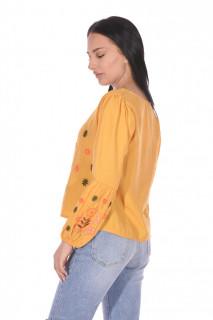 Camasa dama cu broderie florala -galben-