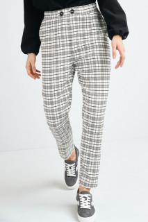 Pantaloni dama casual conici in carouri