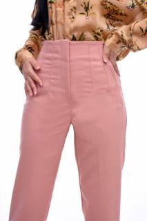 Pantaloni dama chino cu talie inalta- roz corai