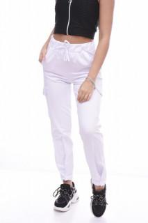 Pantaloni dama sport cargo - alb -