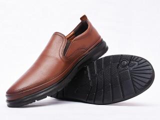 Pantofi barbati maro deschis din piele naturala
