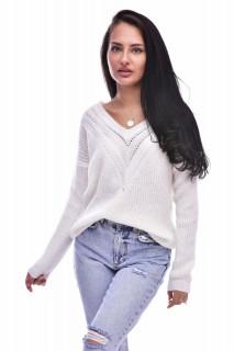 Pulover dama din tricot fin cu decolteu in v- alb