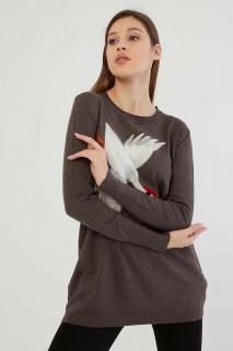 Pulover dama gri cu imprimeu decorativ - E