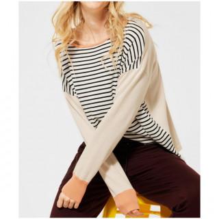 Pulover din tricot fin cu dungi pe fata-E-