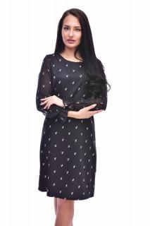 Rochie dama cu imprimeu si maneci din voal - negru