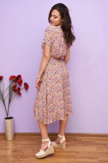 Rochie dama midi de vara cu imprimeu floral Leila