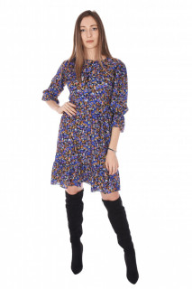 Rochie de zi cu imprimeu floral- albastru -