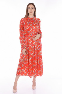 Rochie lunga satinata cu imprimeu si curea ( rosu )-E-