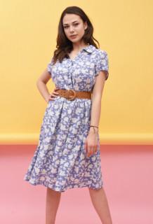 Rochie midi casual cu imprimeu floral si curea - Lara - albastru