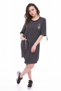 Rochie midi casual cu imprimeu si accesoriu Nancy- negru-