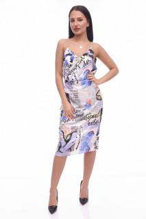 Rochie midi cu imprimeu geometric-albastru