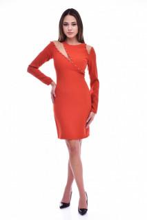 Rochie midi eleganta cu detalii decorative din tulle si perle - portocaliu