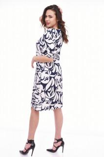Rochie midi eleganta cu imprimeu si maneca scurta bufanta