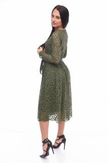Rochie midi eleganta din dantela cu maneca lunga kaki