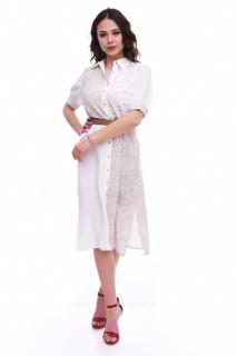 Rochie midi stil camasa cu imprimeu si curea - alb/bej