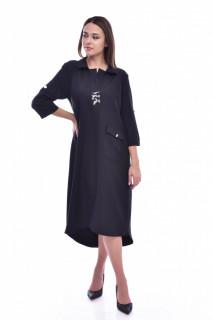Rochie midi tip camasa cu nasturi pe spate - negru