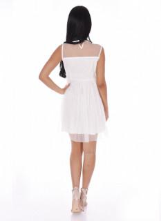 Rochie mini din broderie si tull fara maneca-alb-