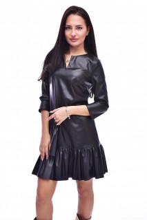 Rochie mini din piele ecologica cu volane - negru